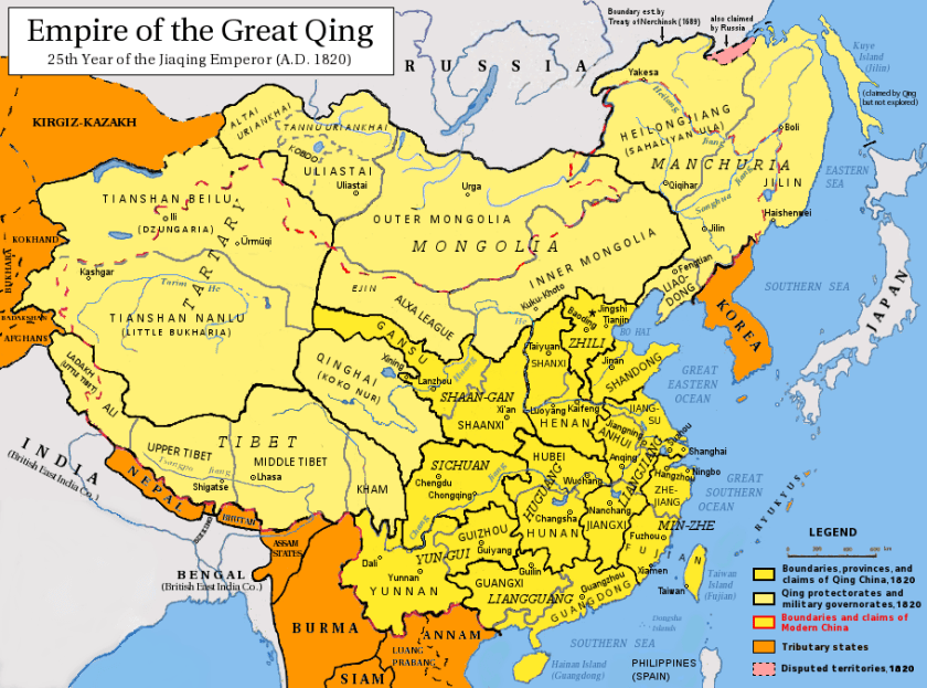 The Qing Empire in 1820.