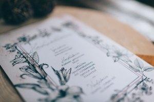 Menükarte Getränkekarte Vintage Papeterie Do it yourself Altrosa Alice im Wunderland Hochzeit