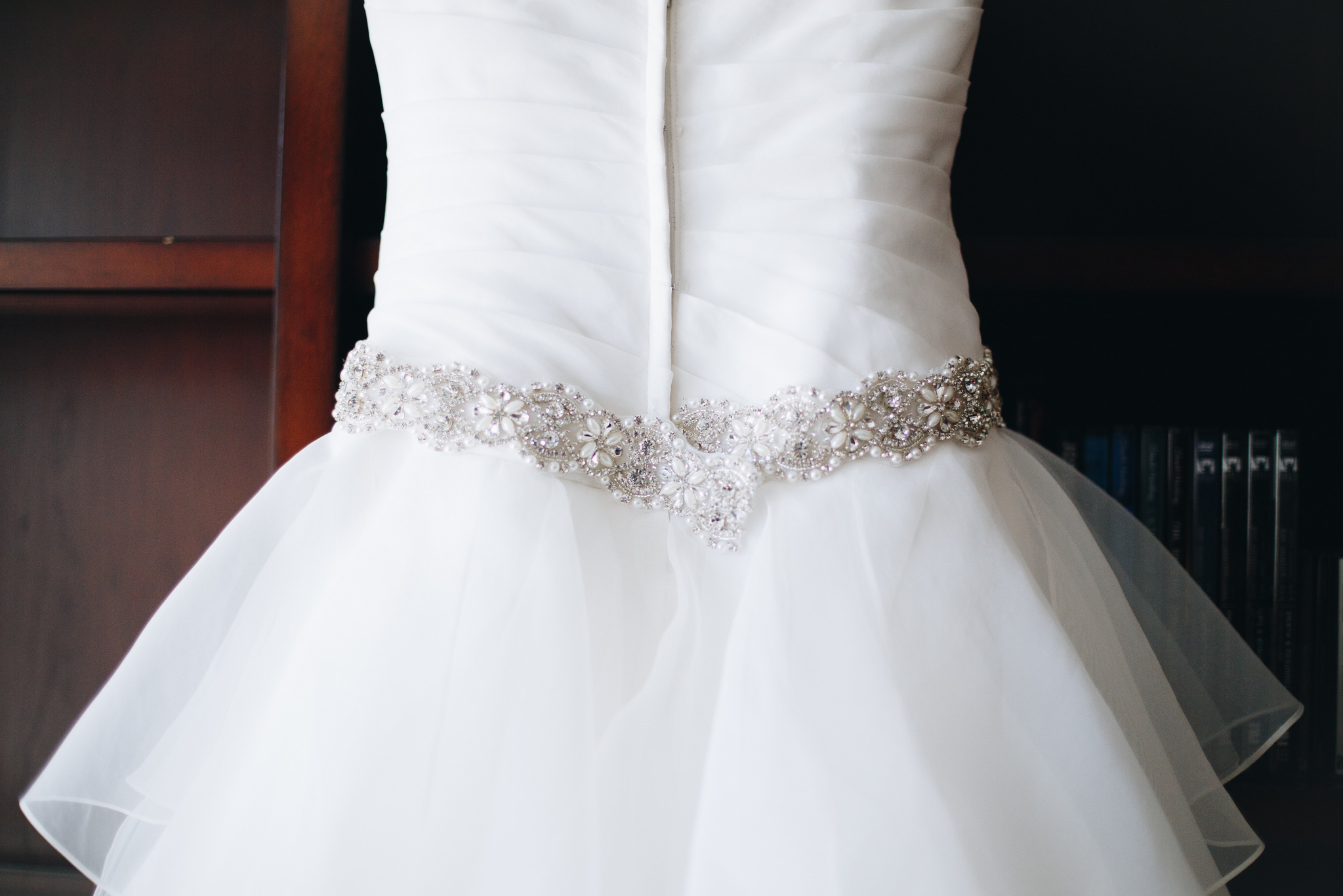 wedding dress with beaded belt