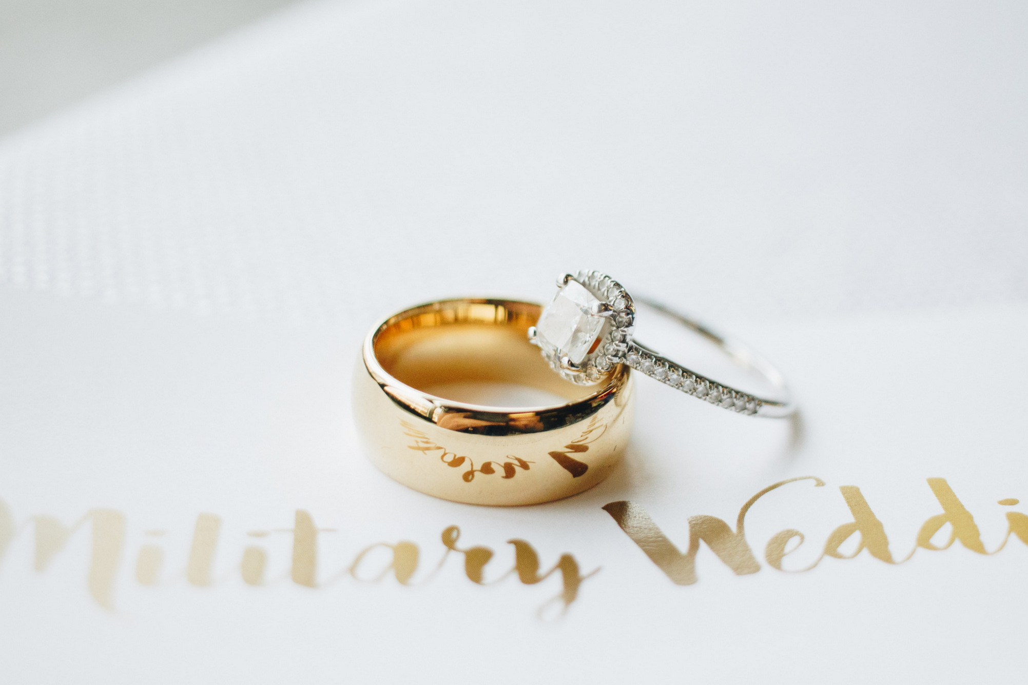 military wedding (ring shot) in bellingham, washington
