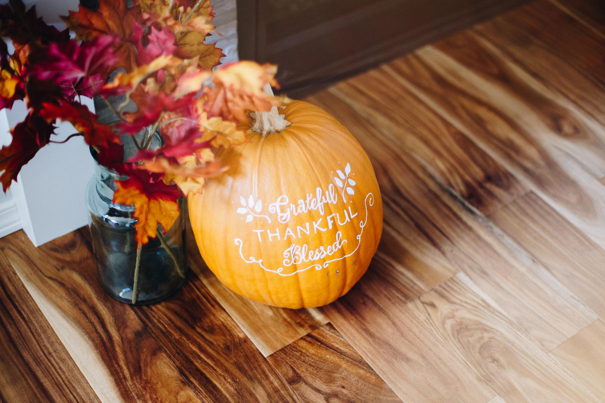 grateful thankful blessed - lettering on pumpkin
