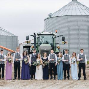 wedding party small farm town wedding