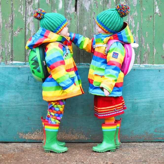 rainbow raincoats