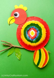 colourful paper plate parrot craft idea