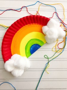 colourful paper plate rainbow craft idea