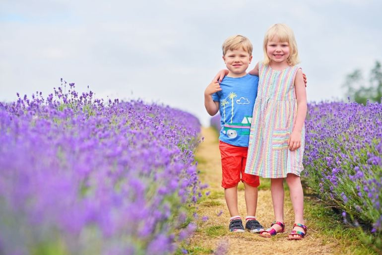 Twins standing in Mayfield Lavender Farm