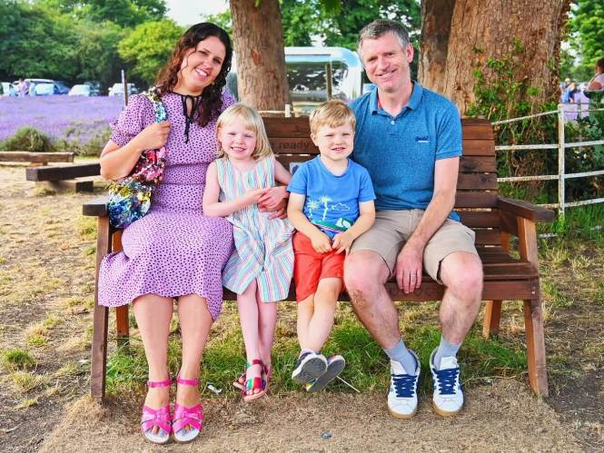 Family photo at Mayfield Lavender