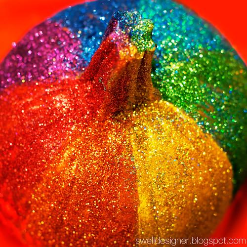 rainbow glitter pumpkin no-carve pumpkin ideas