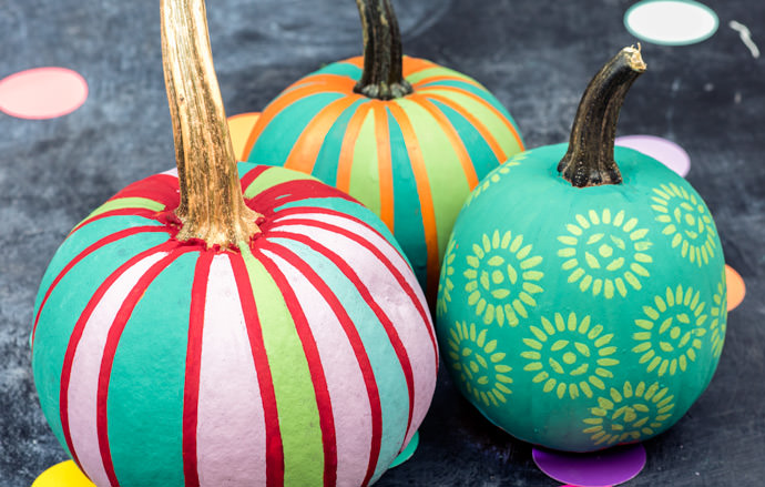colourful painted pumpkins
