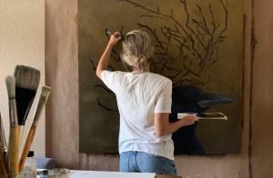 Dallas artist Hannah Brown working in studio on Birdie