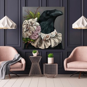 Dramatic and elegant oil portrait painting of a black crow wearing a diamond, pearl, and flower necklace displayed in an elegant room on a dark wall in-between two pale pink chairs by Dallas artist Hannah Brown