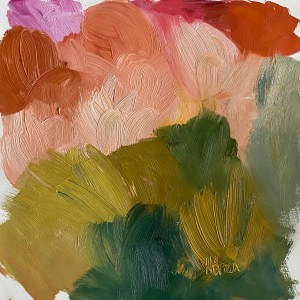 colorful paint palette that is reminiscent of an abstract Santa Fe landscape by Dallas artist Hannah Brown