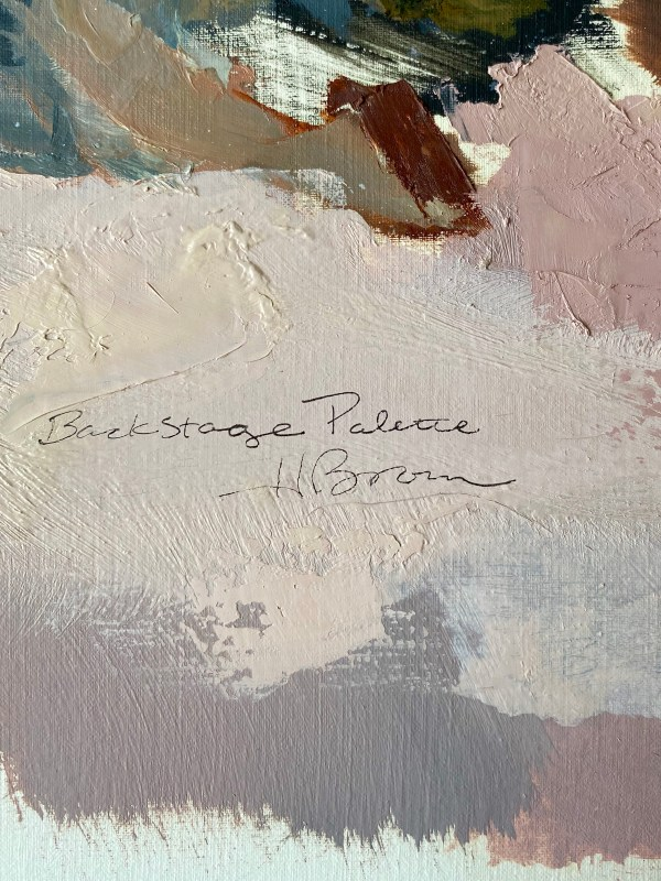 detail image of oil paint palette used by Dallas, Texas artist Hannah Brown to paint Backstage