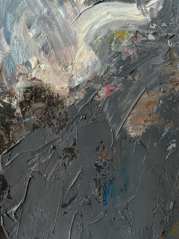 detail image of oil paint palette used by Dallas, Texas artist Hannah Brown to paint Bon Ton