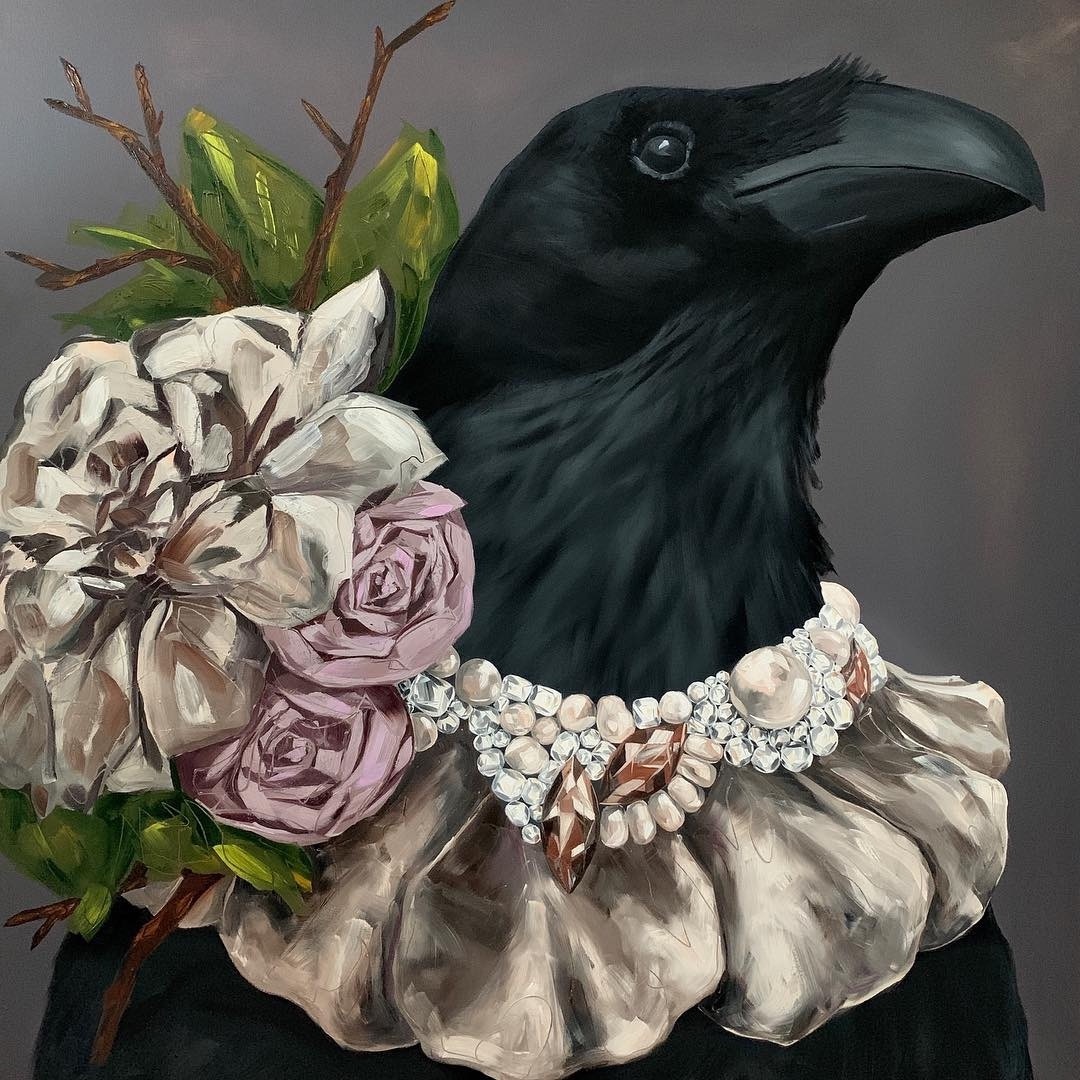 dramatic and elegant large scale oil portrait painting of a crow or raven wearing a beautiful diamond, pearl, and flower necklace painted by Dallas, Texas artist Hannah Brown