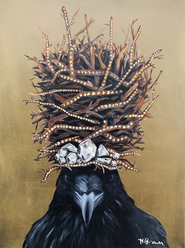 large scale powerful and dramatic oil painting of a crow wearing a large twig crown with diamonds painted by Dallas, Texas artist Hannah Brown