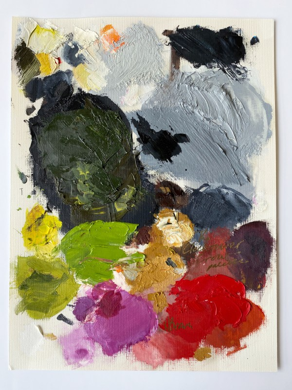 oil paint palette of Dallas, Texas artist Hannah Brown used to paint the Clocktower Crow