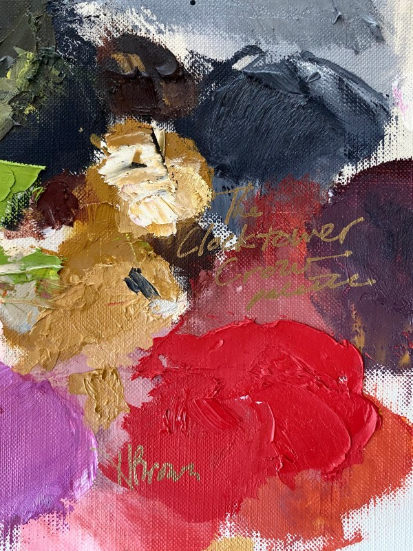 detail image of oil paint palette of Dallas, Texas artist Hannah Brown used to paint the Clocktower Crow