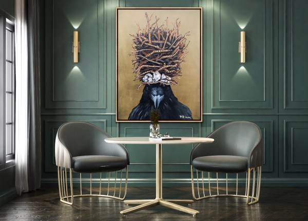 large scale powerful and dramatic oil painting of a crow wearing a large twig crown with diamonds painted by Dallas, Texas artist Hannah Brown displayed in a dramatic and elegant room