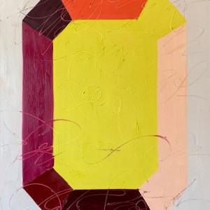 large scale oil painting of a bold, colorful, and modern minimalist gemstone inspired by Andy Warhol painted by Dallas, Texas artist Hannah Brown