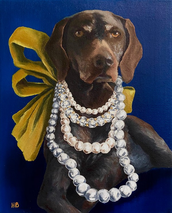 commissioned oil painting dog portrait of a regal brown dog wearing a diamond and pearl multi strand necklace with a large chartreuse bow in the back by Dallas, Texas artist Hannah Brown