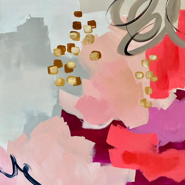commissioned acrylic abstract painting with soft pinks, coral, and berry colors by Dallas, Texas artist Hannah Brown