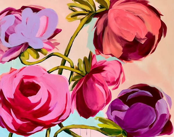 large scale commissioned acrylic painting of bold abstract flowers with vibrant pinks, reds, and purples by Dallas, Texas artist Hannah Brown
