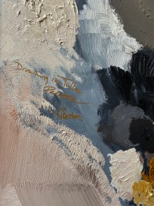 detail view of abstract oil painting with heavy texture bye Dallas, Texas artist Hannah Brown