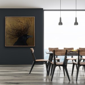 large scale oil painting of a crow wearing a large twig and diamond crown painted by Dallas, Texas artist Hannah Brown displayed on a modern and elegant room