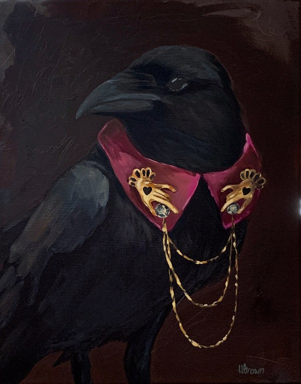 dramatic oil painting portrait of a crow wearing a collar with gold and diamond hand pins painted by Dallas, Texas artist Hannah Brown