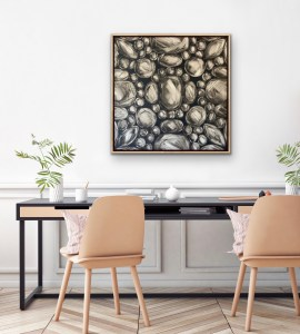 large scale oil painting of rose cut diamonds on a dark grey background displayed in a modern room