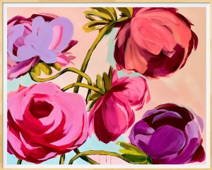 Print of large scale commissioned acrylic painting of bold abstract flowers with vibrant pinks, reds, and purples by Dallas, Texas artist Hannah Brown
