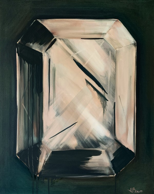 A bold and dramatic oil painting of a large minimalist emerald cut diamond on a dark green background painted by Dallas, Texas artist Hannah Brown