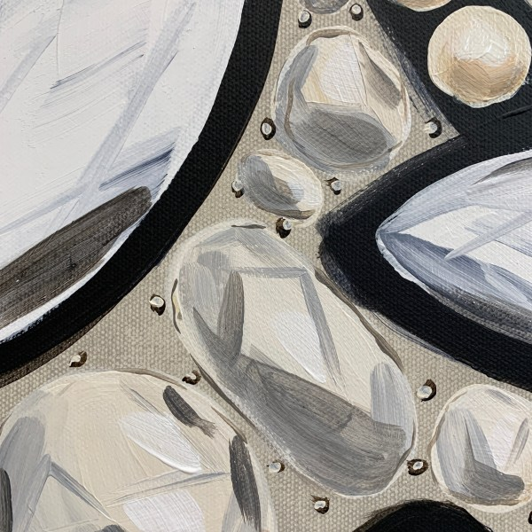 Detailed image of Large acrylic painting inspired by the intricate embroidery of a black, white, and cream Dior dress with birds and diamonds painted by Dallas, Texas artist Hannah Brown
