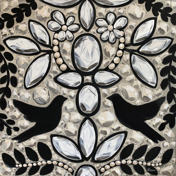 Large acrylic painting inspired by the intricate embroidery of a black, white, and cream Dior dress with birds and diamonds painted by Dallas, Texas artist Hannah Brown
