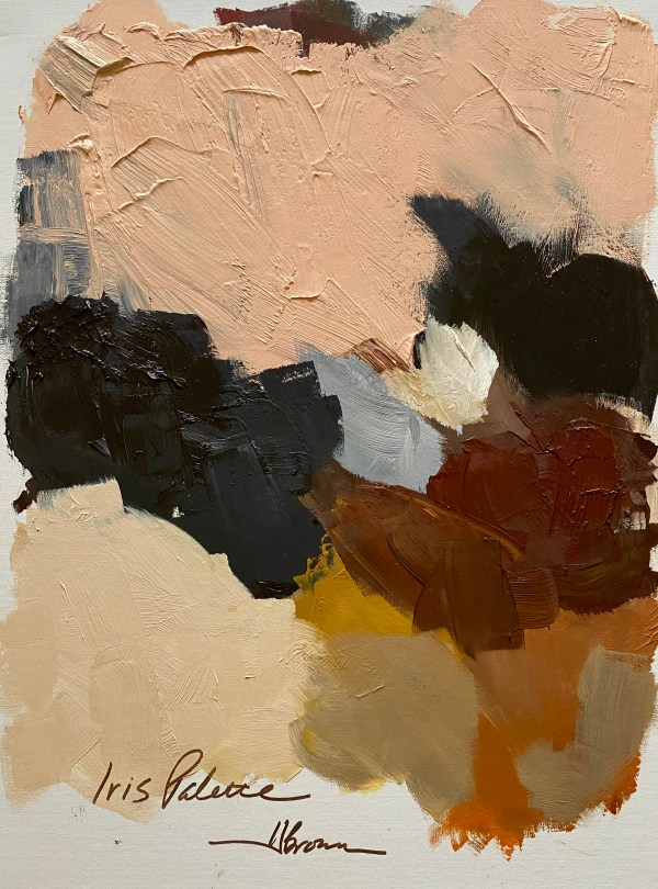 Heavy textured oil paint palette with black, browns, and pinks painted by Dallas, Texas artist Hannah Brown