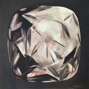 Bold oil painting of one large cushion cut diamond with dramatic shadows and a moody and rich grey purple background painted by Dallas, Texas artist Hannah Brown.