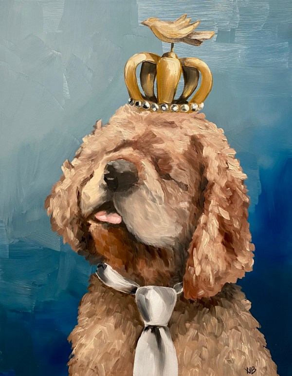 Commissioned oil painting dog portrait of a cocker spaniel wearing a crown with a bird and a tie with a blue background painted by Dallas, Texas artist Hannah Brown.