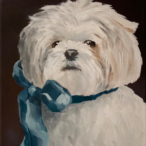 Commissioned dog portrait oil painting of a small white dog with a simple blue bow tied around his neck painted by Dallas, Texas artist Hannah Brown.