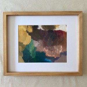Framed abstract oil painting titled Tamarindo by Dallas, Texas artist Hannah Brown