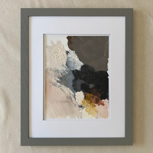 Framed abstract oil painting with heavy texture bye Dallas, Texas artist Hannah Brown