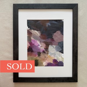 Framed oil paint palette used to paint Crowhawk by Dallas, Texas artist Hannah Brown.