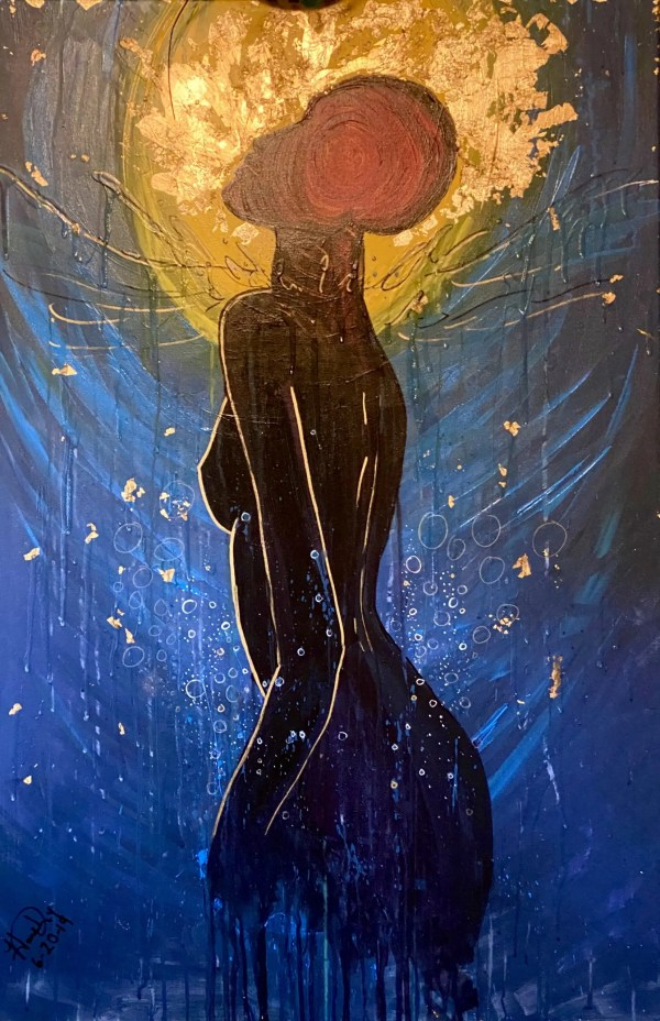 acrylic painting of a dark figure breaking through water with a golden halo of sunshine