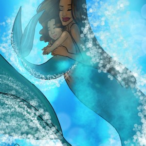 A mermaid holds her baby