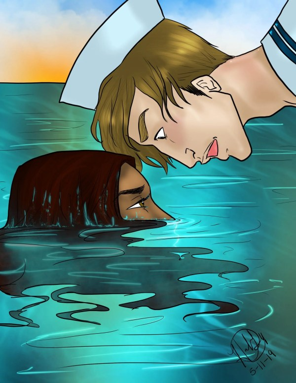 A sailor looks down at a mermaid who is peaking out of the ocean