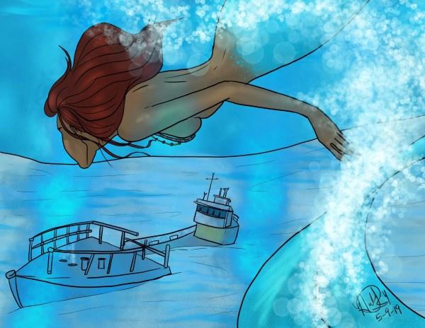 A mermaid swims down to a sunken shipwreck