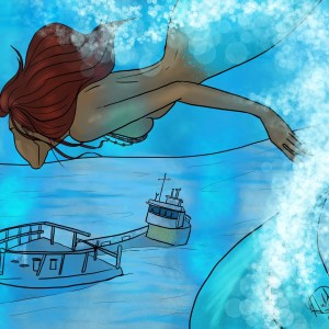 A mermaid swims down to a sunken shipwreck