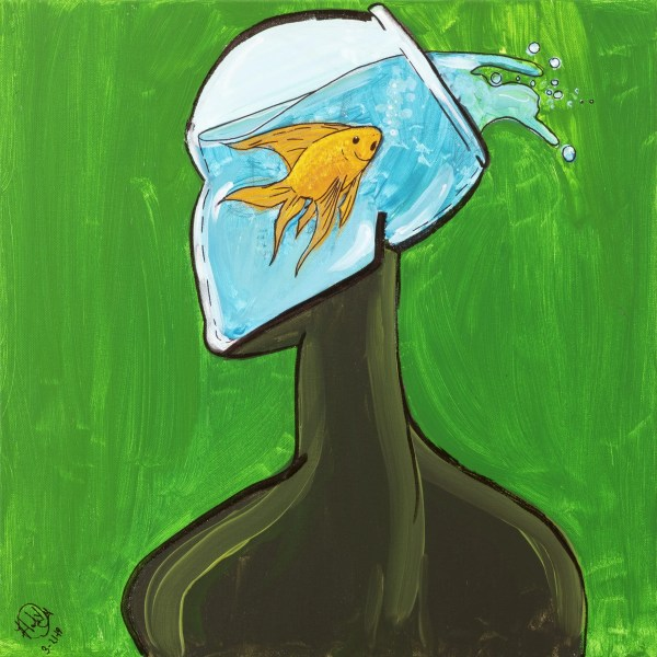 Dark figure with fish bowl for head houses a goldfish splashing out water.