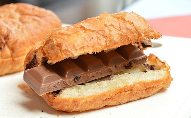 bread roll with chocolate in