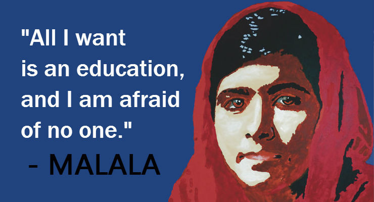 cartoon image of Malala with quote about education